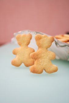 Free Cookies In The Form Of Two Bears Stock Photo - 4095710