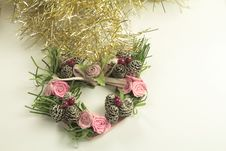 Silver Bells With Heart Shape Wreath And Tinsel Stock Photos