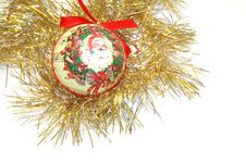 Papiermache Bauble And Tinsel Stock Photos