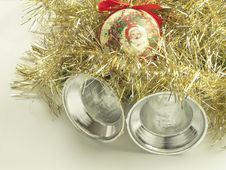 Free Silver Bells With A Santa Bauble And Tinsel Royalty Free Stock Images - 4095909