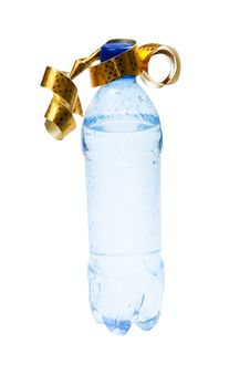Free Bottle With Water In Gift Packing Stock Photo - 4096110