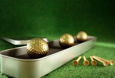 Free Golden Golfballs In Gift Set Stock Photo - 4097530