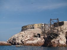 Guano Collection Structures At Islas Ballestas Royalty Free Stock Image