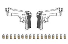 Free Guns With Ammunition Royalty Free Stock Photo - 4099445