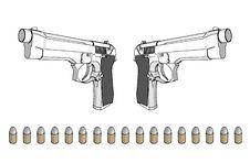 Free Guns With Ammunition Royalty Free Stock Photo - 4099445
