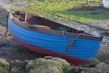 Free Blue & Red Rowing Boat On Land Stock Image - 411011