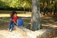 Free Child Outside With Laptop Royalty Free Stock Photos - 411708