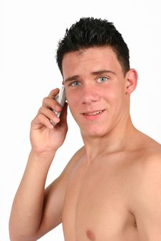 Topless Male On His Phone Stock Photography