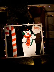 Free Snowman And Candy Cane Royalty Free Stock Photo - 416685
