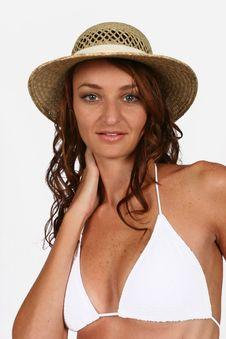 Woman Sitting In Bikini Stock Photography