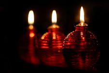 Free Three Red Oil Lamps Royalty Free Stock Photo - 419735