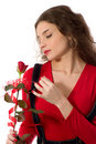 Free Beautiful Girl With A Rose Stock Image - 4102091