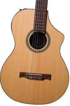 Acoustic Guitar (yellow, Isolated) Royalty Free Stock Photo