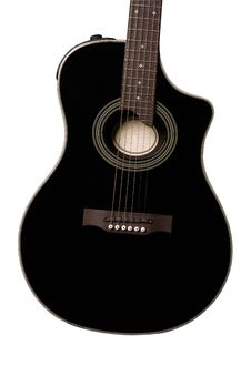 Acoustic Guitar (black, Isolated) Royalty Free Stock Photo