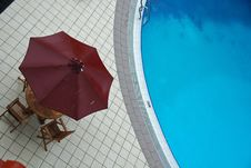 Swimming Pool And Umbrella In The Hotel Stock Photography