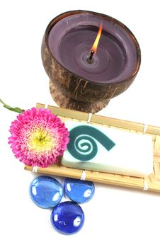 Candle, Soap And Flower. Royalty Free Stock Image