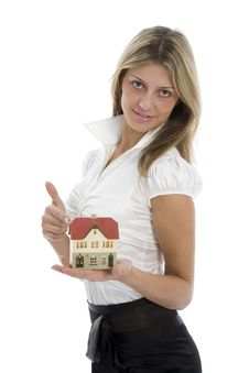 Free Business Woman Advertises Real Estate Stock Photography - 4102472