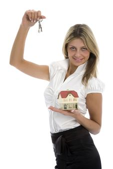 Free Business Woman Advertises Real Estate Royalty Free Stock Photography - 4102487