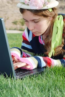 Free Young Girl And Laptop Stock Photo - 4103070