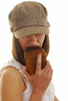 Free Portrait With Bread Stock Photography - 4103852