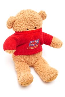 Free Brown Teddy Bear In Red Sweater On White Royalty Free Stock Images - 4103969