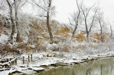 Free Winter Danube River Bank Landscape Stock Image - 4104161