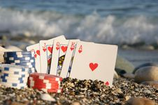 Free Royal Flush By The Sea Royalty Free Stock Photo - 4104455