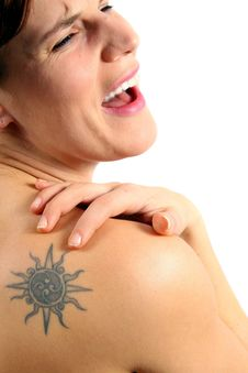 My Shoulder Hurts So Much! Royalty Free Stock Photography