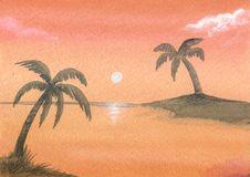 Free Painted Orange Sunset Stock Image - 4104691