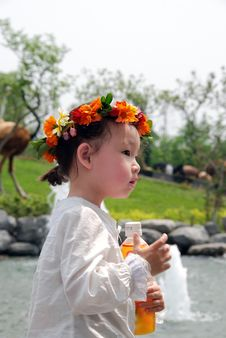 Free Lovely Child With A Coronet Of Flowers Royalty Free Stock Images - 4104789