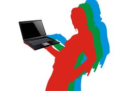 Free RGB Girl With Laptop Royalty Free Stock Images - 4107219