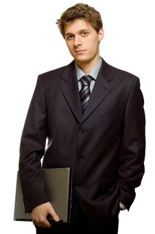 Free Businessman With Laptop Stock Image - 4108151