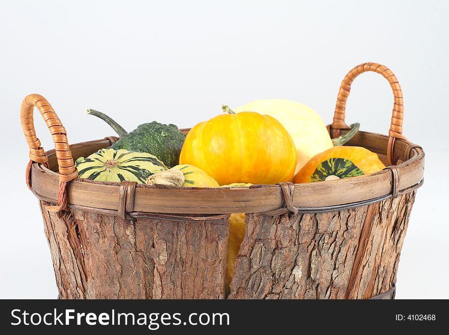 Mini pumpkins in a basket