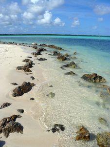 Beach With Rocks Royalty Free Stock Photo