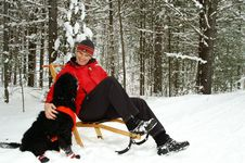 Free Kicksledding With Best Friend Royalty Free Stock Photos - 4110548