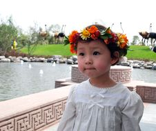 Free Lovely Child With A Coronet Of Flowers Stock Images - 4110684