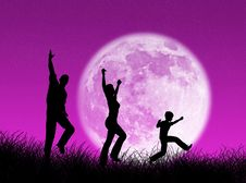 Free Family In The Moon Royalty Free Stock Photography - 4110827