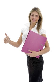Free Business Woman With Folder Stock Photography - 4110932