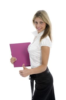 Free Business Woman With Folder Royalty Free Stock Photo - 4110935