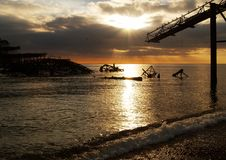Free Brighton Pier Wreck At Sunset Stock Photography - 4111772
