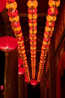 Free Rows Of Traditional Lanterns Royalty Free Stock Image - 4112546