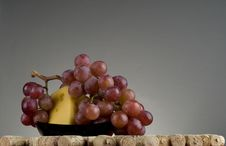 Red Grape, Cheese, Wine Cork. Stock Photography