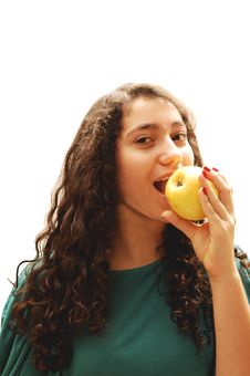 Free Young Girl And Apple. Stock Photos - 4113993