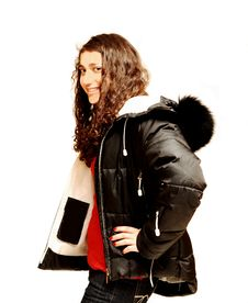 Free Young Lady In Winter Coat. Royalty Free Stock Image - 4114086