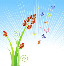 Free Easter Eggs-flowers / With Butterfly / Vector Stock Images - 4114684