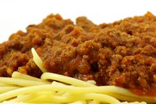 Spaghetti And Meat Sauce Stock Photo