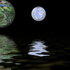 Free Green Ball Over Water Stock Photo - 4115190