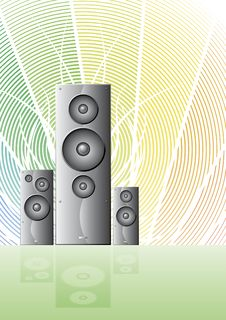 Three Music Speakers On A Rainbow Lined Background Stock Image