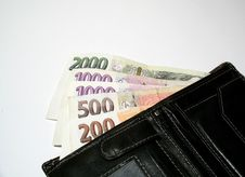 Free Purse With Czech Banknotes Stock Photography - 4116802