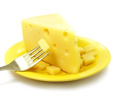 Piece Of Cheese On The Plate Royalty Free Stock Images